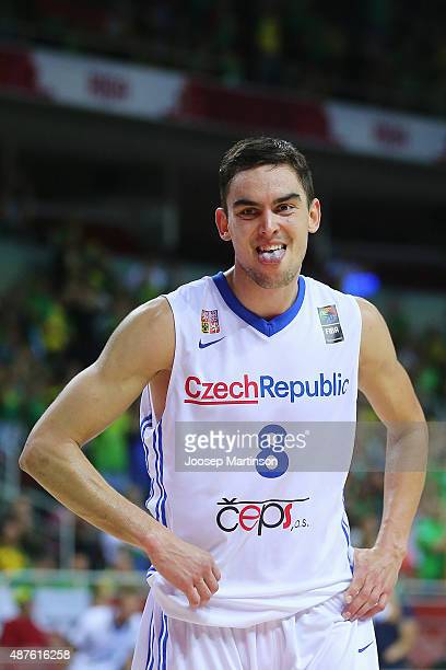 Tomas Satoransky of Czech Republic reacts during the FIBA EuroBasket 2015 Group D basketball match between Czech Republic and Lithuania at Arena Riga...