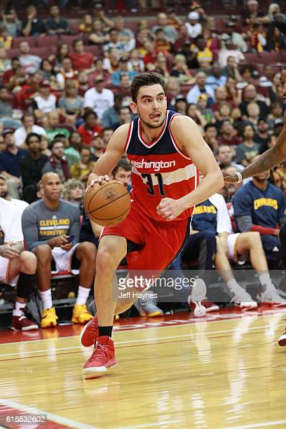 Tomas Satoransky of the Washington Wizards drives to the basket during a preseason game against the Cleveland Cavaliers on October 18 2015 at Value...