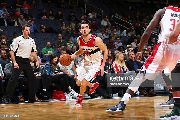 Tomas Satoransky of the Washington Wizards drives to the basket against the Boston Celtics during the game on November 9 2016 at Verizon Center in...