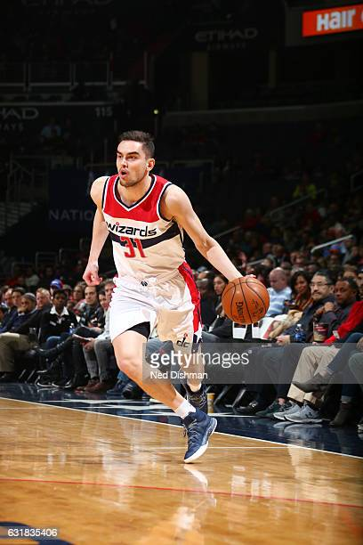 Tomas Satoransky of the Washington Wizards drives to the basket against the Portland Trail Blazers during the game on January 16 2017 at Verizon...