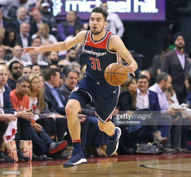 Tomas Satoransky of the Washington Wizards grings the ball up court against the Toronto Raptors in Game Two of the Eastern Conference First Round in...