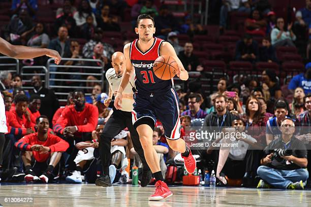 Tomas Satoransky of the Washington Wizards handles the ball against the Philadelphia 76ers in a preseason game on October 6 2016 at Wells Fargo...