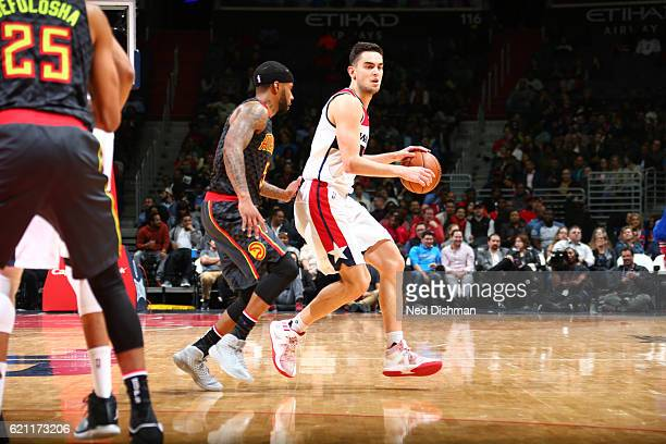 Tomas Satoransky of the Washington Wizards handles the ball against Malcolm Delaney of the Atlanta Hawks during a game on November 4 2016 at the...