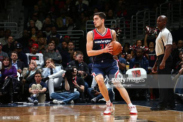 Tomas Satoransky of the Washington Wizards handles the ball against the Houston Rockets on November 7 2016 at Verizon Center in Washington DC NOTE TO...