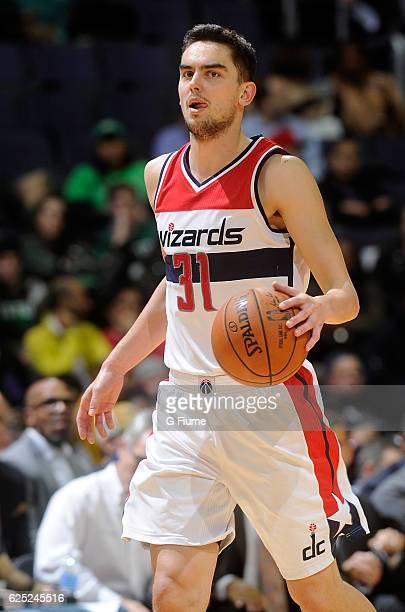 Tomas Satoransky of the Washington Wizards handles the ball against the Boston Celtics at Verizon Center on November 9 2016 in Washington DC NOTE TO...