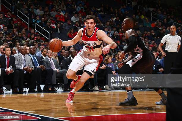 Tomas Satoransky of the Washington Wizards handles the ball against the Brooklyn Nets December 30 2016 at Verizon Center in Washington DC NOTE TO...