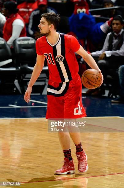 Tomas Satoransky of the Washington Wizards handles the ball against the Oklahoma City Thunder at Verizon Center on February 13 2017 in Washington DC