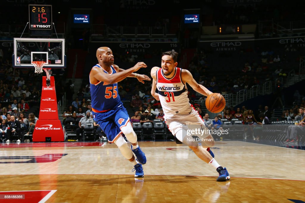 Tomas Satoransky #31 of the Washington Wizards handles the ball against Jarrett Jack #55 of the New York Knicks during the preseason game on October 6, 2017 at Capital One Arena in Washington, DC.