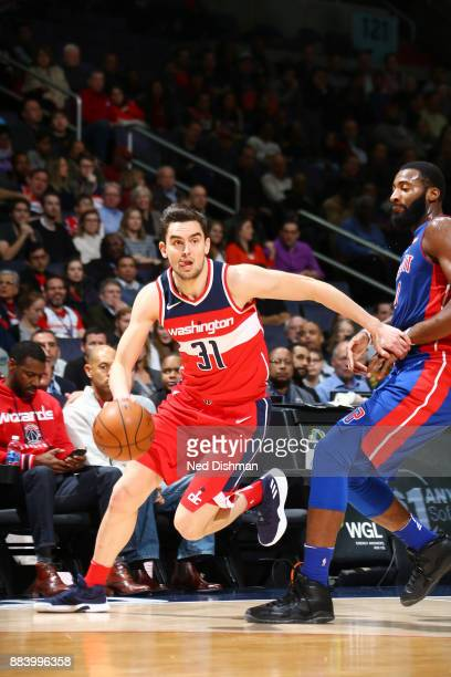 Tomas Satoransky of the Washington Wizards handles the ball against the Detroit Pistons on December 1 2017 at Capital One Arena in Washington DC NOTE...