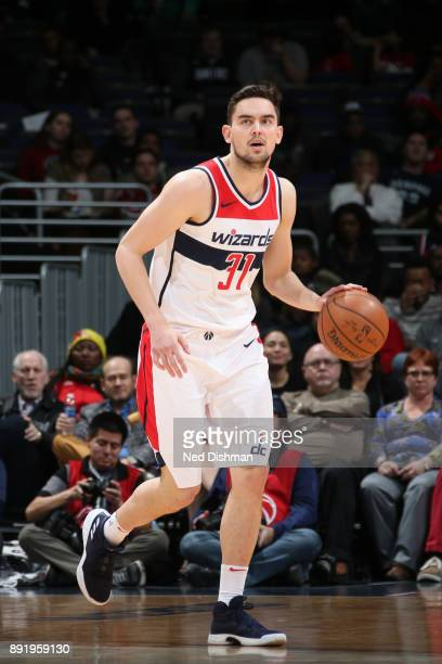 Tomas Satoransky of the Washington Wizards handles the ball against the Memphis Grizzlies on December 13 2017 at Capital One Arena in Washington DC...
