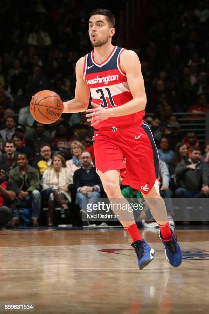 Tomas Satoransky of the Washington Wizards handles the ball against the Houston Rockets on December 29 2017 at Capital One Arena in Washington DC...