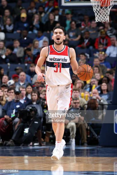 Tomas Satoransky of the Washington Wizards handles the ball against the Memphis Grizzlies on January 5 2018 at FedExForum in Memphis Tennessee NOTE...