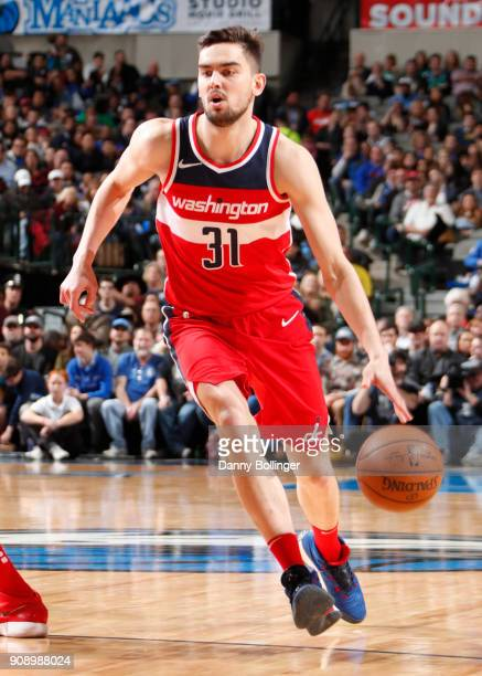 Tomas Satoransky of the Washington Wizards handles the ball against the Dallas Mavericks on January 22 2018 at the American Airlines Center in Dallas...