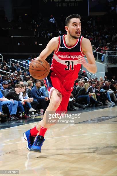 Tomas Satoransky of the Washington Wizards handles the ball against the Atlanta Hawks on January 27 2018 at Philips Arena in Atlanta Georgia NOTE TO...