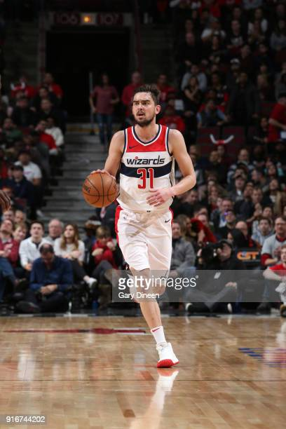Tomas Satoransky of the Washington Wizards handles the ball against the Chicago Bulls on February 10 2018 at the United Center in Chicago Illinois...