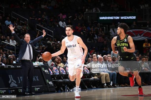 Tomas Satoransky of the Washington Wizards handles the ball against the Atlanta Hawks on April 6 2018 at Capital One Arena in Washington DC NOTE TO...