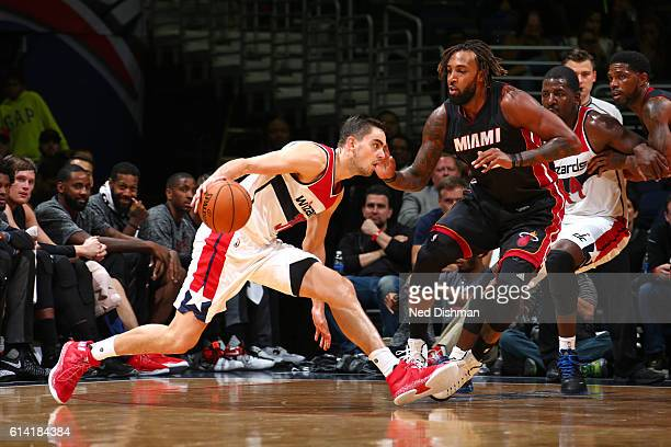 Tomas Satoransky of the Washington Wizards handles the ball during a preseason game against the Miami Heat on October 4 2016 at Verizon Center in...