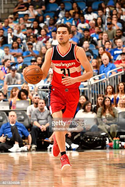 Tomas Satoransky of the Washington Wizards handles the ball during a game against the Orlando Magic on November 5 2016 at the Amway Center in Orlando...