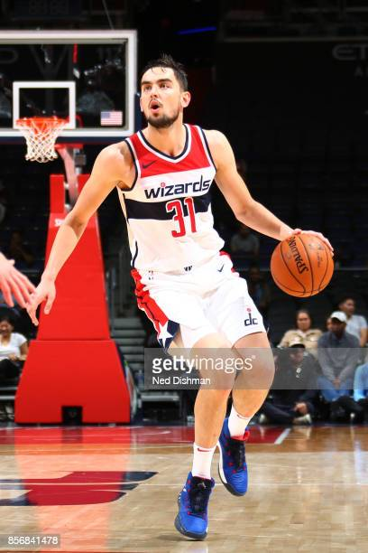 Tomas Satoransky of the Washington Wizards handles the ball during the preseason game against the Guangzhou LongLions on October 2 2017 at Capital...