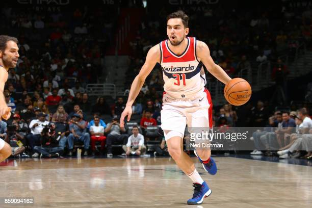 Tomas Satoransky of the Washington Wizards handles the ball during the preseason game on October 8 2017 at Capital One Arena in Washington DC NOTE TO...