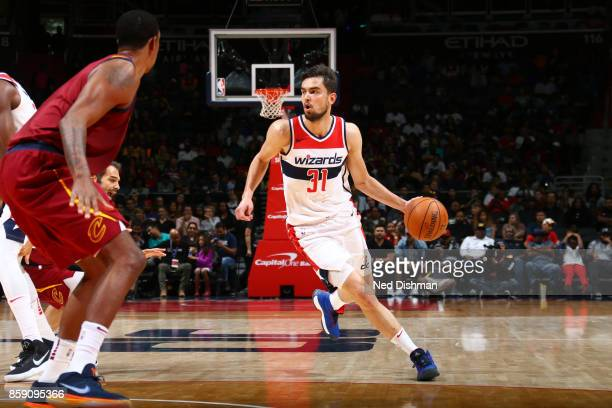 Tomas Satoransky of the Washington Wizards handles the ball during the preseason game against the Cleveland Cavaliers on October 8 2017 at Capital...