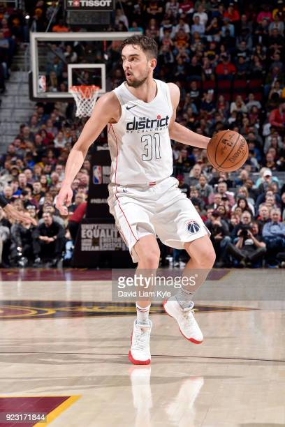 Tomas Satoransky of the Washington Wizards handles the ball during the game against the Cleveland Cavaliers on February 22 2018 at Quicken Loans...