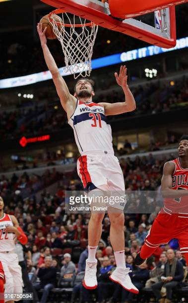 Tomas Satoransky of the Washington Wizards lays in a shot against the Chicago Bulls at the United Center on February 10 2018 in Chicago Illinois NOTE...