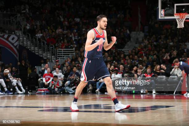 Tomas Satoransky of the Washington Wizards reacts during game against the Philadelphia 76ers on February 25 2018 at Capital One Arena in Washington...