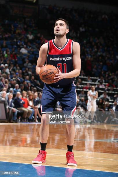 Tomas Satoransky of the Washington Wizards shoots a free throw during a game against the Minnesota Timberwolves on March 13 2017 at Target Center in...