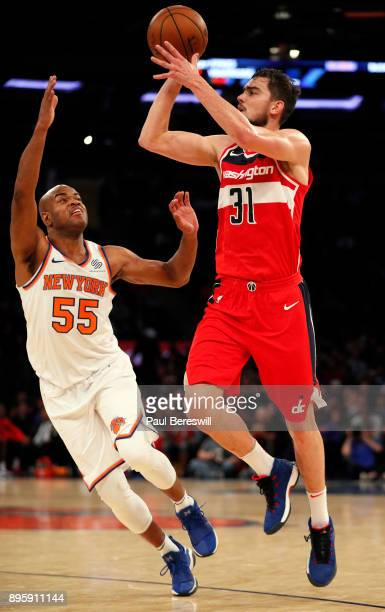 Tomas Satoransky of the Washington Wizards shoots in front of Jarrett Jack of the New York Knicks in an NBA basketball game on October 13 2017 at...