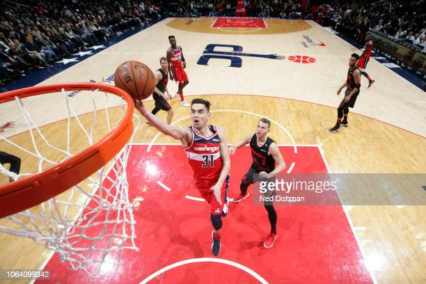 Tomas Satoransky of the Washington Wizards shoots the ball against the Portland Trail Blazers on November 18 2018 at Capital One Arena in Washington...