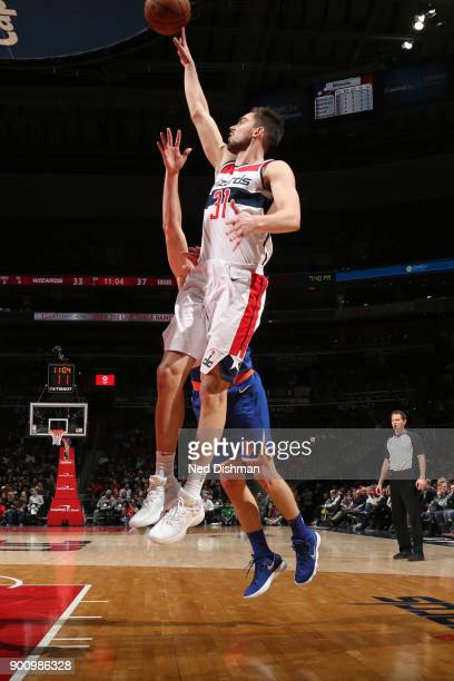 Tomas Satoransky of the Washington Wizards shoots the ball against the New York Knicks on January 3 2018 at Capital One Arena in Washington DC NOTE...