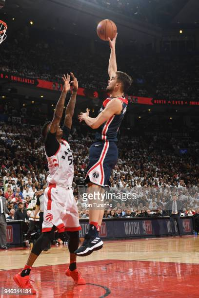 Tomas Satoransky of the Washington Wizards shoots the ball against the Toronto Raptors in Game One of Round One of the 2018 NBA Playoffs on April 14...