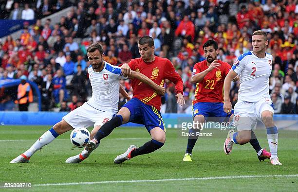 Tomas Sivok of Czech Republic and Alvaro Morata of Spain compete for the ball during the UEFA EURO 2016 Group D match between Spain and Czech...