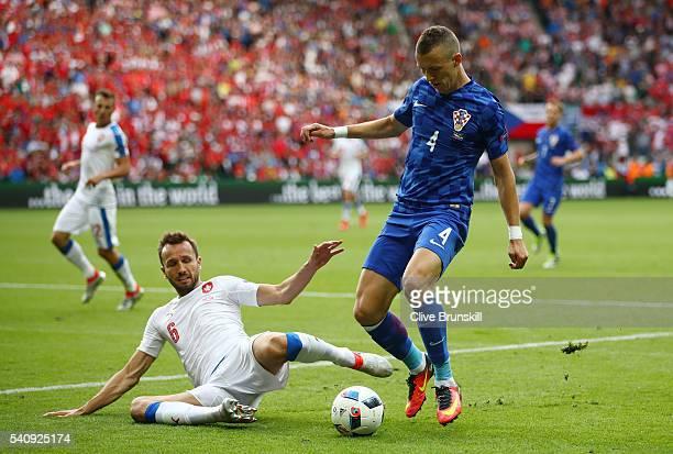 Tomas Sivok of Czech Republic makes a tckle on Ivan Perisic of Croatia during the UEFA EURO 2016 Group D match between Czech Republic and Croatia at...