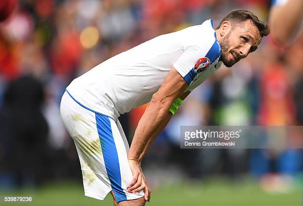 Tomas Sivok of Czech Republic shows his dejection after his team's 01 defeat in the UEFA EURO 2016 Group D match between Spain and Czech Republic at...
