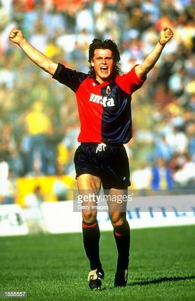 Tomas Skuhravy of Genoa celebrates during a Serie A match against Parma AC at the Ennio Tardini Stadium in Parma Italy Mandatory Credit Allsport UK...