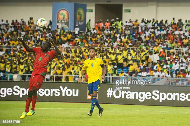 Tomas Soares Dabo heading the ball away just in front of Pierre Emerick Emiliano François Aubameyang during the second half at African Cup of Nations...