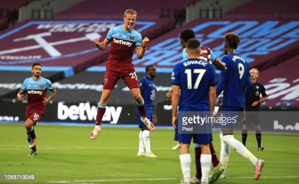 Tomas Soucek celebrates scoring a goal which was later disallowed following a VAR offside check during the Premier League match between West Ham...