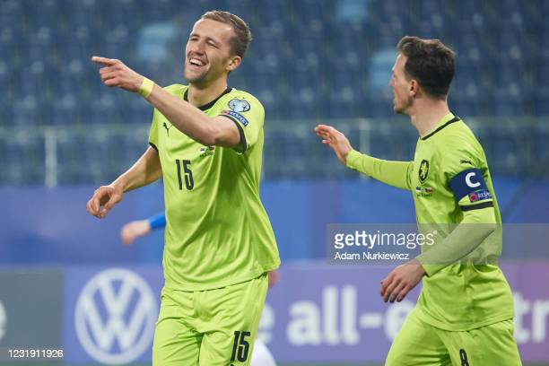 Tomas Soucek from Czech Republic celebrates with teammates after scoring during the FIFA World Cup 2022 Qatar qualifying match between Estonia and...