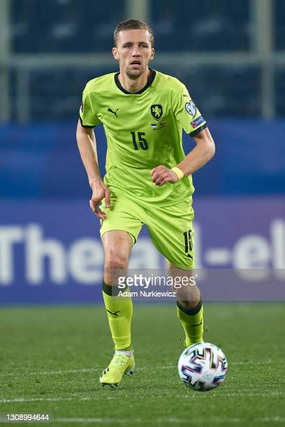 Tomas Soucek from Czech Republic controls the ball during the FIFA World Cup 2022 Qatar qualifying match between Estonia and Czech Republic on March...