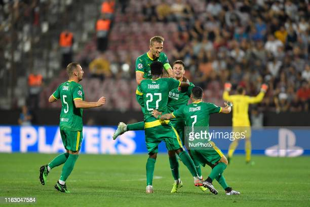 Tomas Soucek Lukas Masopust and Jan Boril of Slavia Praha celebrate Praha celebrate during UEFA Champions League 2019/2020 PlayOffs 1st leg between...