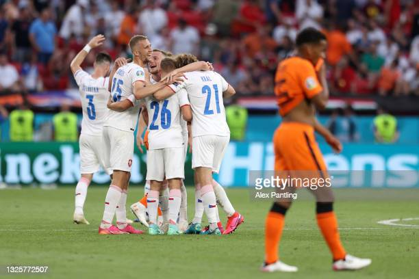 Tomas Soucek, Michal Sadilek and Alex Kral of Czech Republic celebrates their side's victory after the UEFA Euro 2020 Championship Round of 16 match...