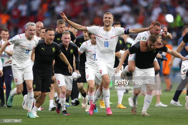 Tomas Soucek of Czech Republic and team mates celebrate their side's victory after the UEFA Euro 2020 Championship Round of 16 match between...