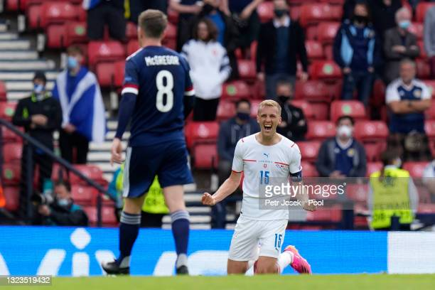 Tomas Soucek of Czech Republic celebrates after victory in the UEFA Euro 2020 Championship Group D match between Scotland v Czech Republic at Hampden...