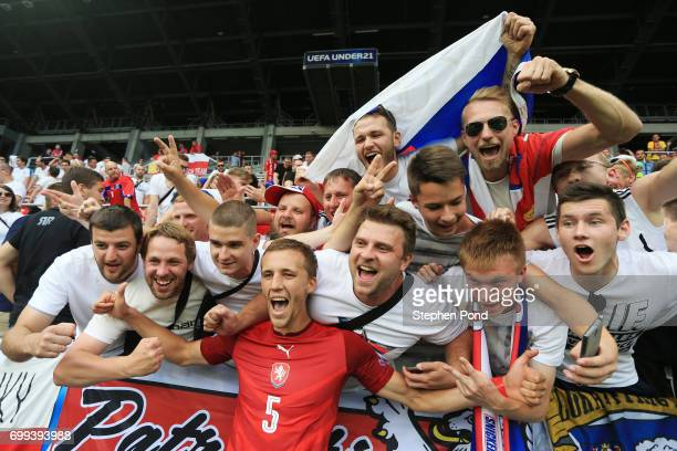 Tomas Soucek of Czech Republic celebrates with Czech Republic fans after the UEFA European Under21 Championship Group C match between Czech Republic...