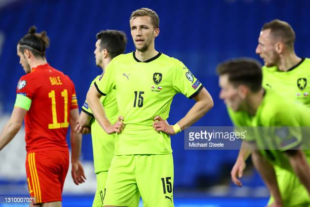Tomas Soucek of Czech Republic during the FIFA World Cup 2022 Qatar qualifying match between Wales and Czech Republic at Cardiff City Stadium on...