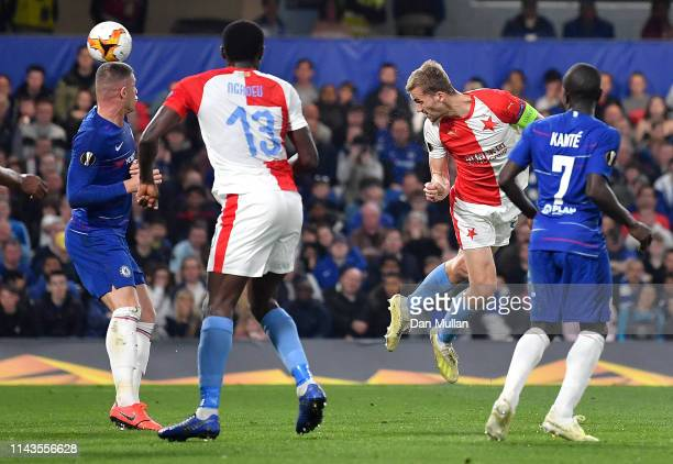 Tomas Soucek of SK Slavia Praha scores his sides first goal during the UEFA Europa League Quarter Final Second Leg match between Chelsea and Slavia...