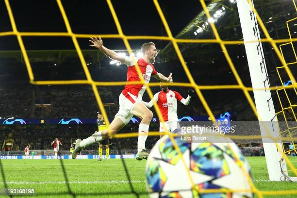 Tomas Soucek of Slavia Praha celebrates after he scores his team's first goal during the UEFA Champions League group F match between Borussia...