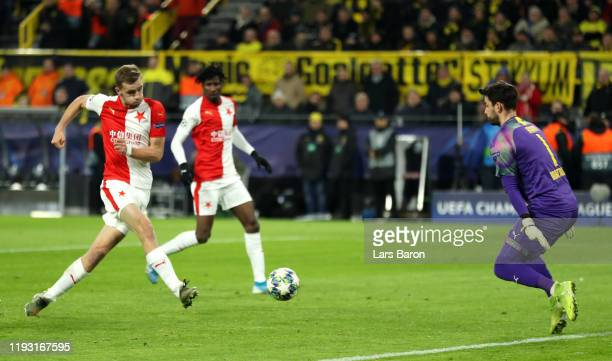 Tomas Soucek of Slavia Praha scores his team's first goal during the UEFA Champions League group F match between Borussia Dortmund and Slavia Praha...